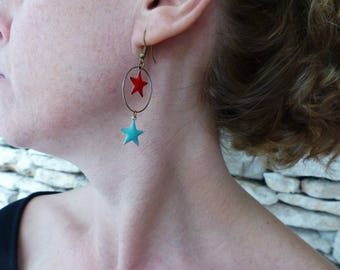 "Long earrings bronze and enamel ""Cepheus"""