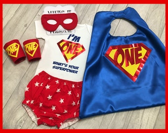Boys 1st Birthday I'm One What's Your Super Power Cake Smash Outfit Nappy Pants Bodysuit Cape Mask Arm Cuffs Party Photo Shoot READY 2 POST!