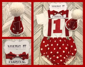 Boys 1st Birthday Cake Smash Outfit Red White Spots Party Hat Nappy Pants Braces Bow Tie Bodysuit Vest Glitter Vinyl 1 READY TO POST!!