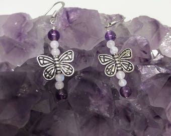 Pewter Butterfly earrings with Amethyst , moonstone, and labradorite,