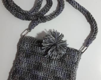 Crocheted brown cross-body purse