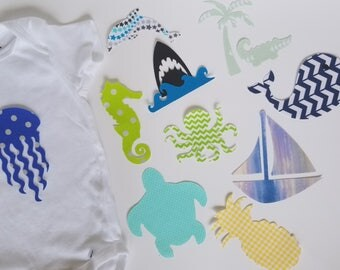 Beach Theme baby boy iron on appliques for DIY baby shower activity/game. Customize your order easily by messaging me