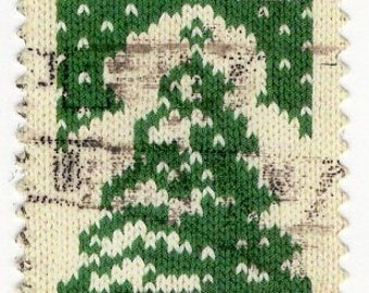 Christmas Tree Holiday Knits 41 Cent - 10 Stamps - US Postage - Used - Off Paper