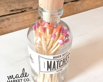 Coral & Fuchsia Tip Colored Matches Mix Match Sticks Decorative Glass Bottle Farmhouse Home Decor Unique Gifts Best Seller Most Popular Item