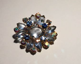 Julianna Style Brooch and Earrings Blue  AB Rhinestone Costume Jewelry Demi Parure Clip On Earrings Scatter Pin Set