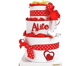 Diaper cakes 3 floors with name