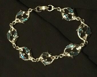Dolphin Abalone Paua Shell Bracelet Vintage