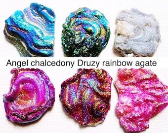 Angel Druzy chalcedony rainbow piece