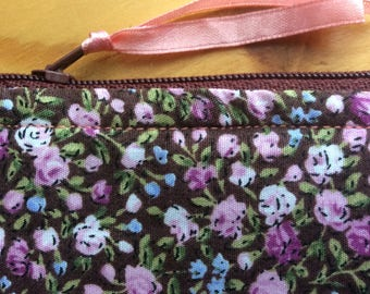 Quilted Liberty inspired floral makeup case