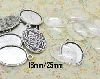 10 x medium silver + cabochon glass 18 x 25 mm