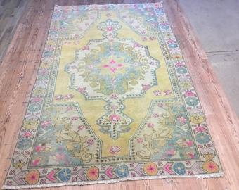 """Oushak Rug, Vintage Rug, Turkish Rug,Vintage Oushak rug,4'4×7'7""""ft,Home Living,Vintage Turkish Rug,Vintage Rug,Wool on cotton Handmade Rug"""