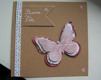 "Card happy birthday ""Butterflies"" and white lace"