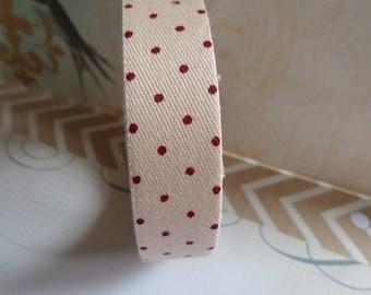 Fabric tape/tape fabric beige Burgundy polka dots