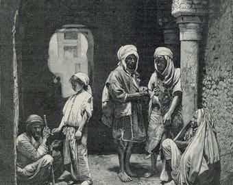 Doors and Beggars, Tunisia 1893 - Old Antique Vintage Engraving Art Print - Arch, beggers, kid, men, bare foot, poor, shade, column