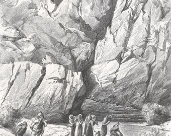 Algeria 1889, Washers at the Fountain, Old Antique Vintage Engraving Art Print, Mountains, Cliffs, Valley, Water, Stream, Men, Women, Animal