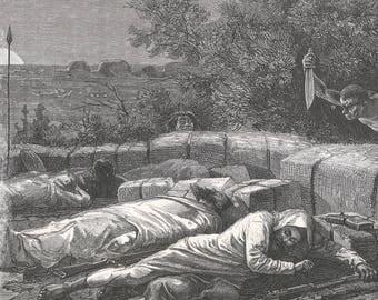 Somalia 1885, Attempted assassination, Old Antique Vintage Engraving Art Print, Man, Sleeping, Sneaking, Arab, Black, Knife, Bonfire, Spear