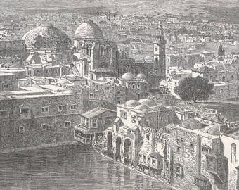 Palestine 1885, Roof and dome of the Holy Sepulcher with the Hiskia Pond, Old Antique Vintage Engraving Art Print, City, Water, Catherdral