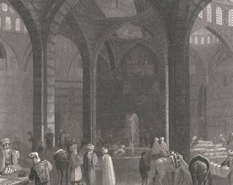 Syria 1839, The Great Khan at Damascus, Old Antique Vintage Engraving Art Print, Interior, Man, Vault, Arch, Animal, Horse, Fountain, Diwan