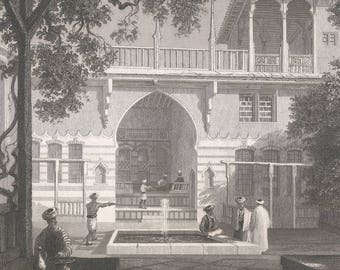 Syria 1839, Court of a Turkish House at Salahyeh, Old Antique Vintage Engraving Art Print, Building, Arch, Canopy, Ornamental, Fountain