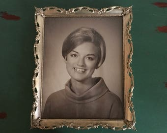 """Vintage Metal Photo Frame 9"""" by 11"""" Includes Vintage Photo of Young Woman"""