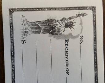 Beautiful Vintage Unused Receipt | Statue of Liberty