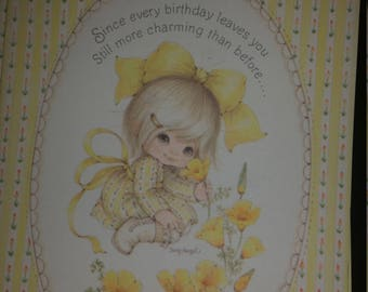 Vintage Greeting Card - Vintage Suzy Angel Angelove Ambassador Greeting Card * Little Girl Picking Yellow Flower