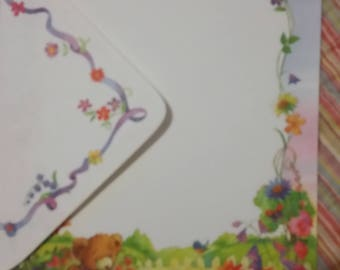 Vintage Stationery Collection ~ Bear Watering Flower Garden Stationery Mini Collection