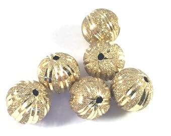 Engraved glittering stardust 12mm beads, gold, 6