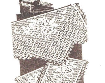 Pansy and Spiderwebs Chair Back Set With Matching Arm Rests, PDFCrochet Pattern,Alice Brooks