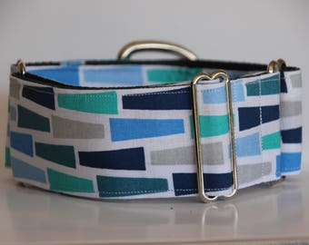 "Greyhound - Blue Mosaic 2"" Martingale Collar"