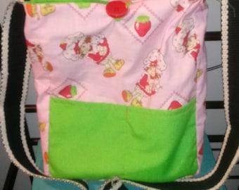 Handmade Strawberry Shortcake reversible crossbody bag