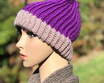 Winter Hat Purple/Brown Loom knitted