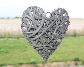 Grey 20cm Wicker heart