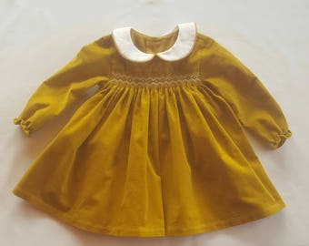 Baby smocked corduroy dress