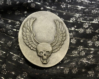 vintage belt buckle - Skull and Wings - made in 1970s