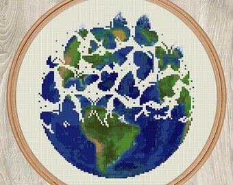 EARTH AND BUTTERFLIES cross stitch pattern Mother Earth xStitch gift Cute butterflies silhouette Environmental wall decor art