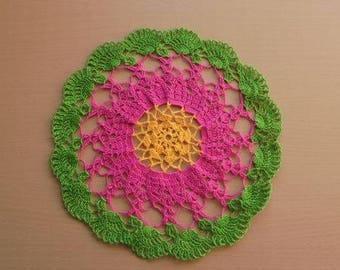 round colorful crochet doily, lace crochet doily, unique housewarming present, crochet centerpiece, round doily, handmade crochet doily,