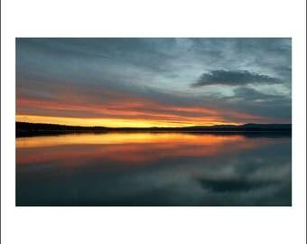 Flaming sunset Flathead Lake Montana, reflections, lake, scenic sky