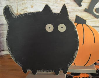Black Cat Decor / Hand Painted Wood Halloween Decoration / Halloween Table Decor / Halloween Centerpiece / Halloween Party Decoration