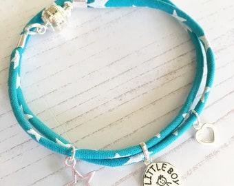 Liberty Ribbon Bracelet with Sterling Silver My Little Boy Charm
