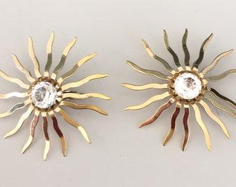 Vintage Sunburst Clip On Earrings
