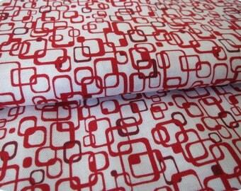 Tissu rectangle rouge et bordeaux sur fond blanc, vendu à partir de 10cm
