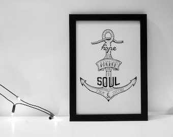 Hebrews 6:19 Bible Verse Print | This Hope is an Anchor to the Soul | Hand Drawn Art | Christian Wall Art