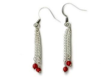 Red Bamboo Coral Chain Dangle Earrings