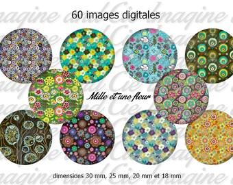 A flower / Cabochon digital image instant download collage sheet digital bottle cap printable instant download