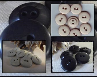 LOT 7 Blue buttons white or beige or Navy Blue * 18 mm * 2 holes * 1.8 cm * sewing button