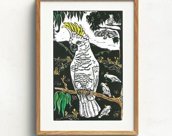 Cockatoo/ Original Artwork/ Hand printed/ Hand coloured/ Linoprint/ playful/ Australian /Birds/ Cocky/ Australian landscape/ Spirit Animal