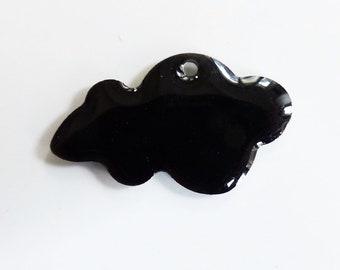 Nuage sequin émaillé 25x15 mm  Noir - création bijoux