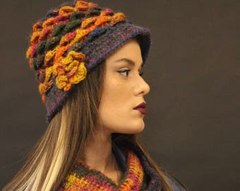 Hand knitted Pure Wool Winter Women Ladies Hat and Scarf, Chunky Knit Hat, Cloche Knit, Made with Wooden Needle- Pure Merino Wool, Scarf Set