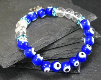 Evil Eye & Quartz Genuine Bracelet ~ 7 Inches  ~ 8mm Round Beads